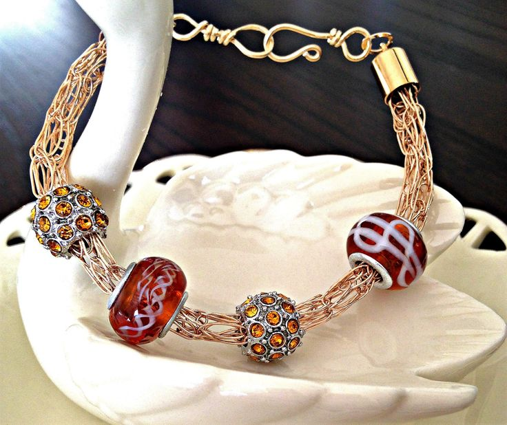 20 best unique handcrafted bracelets images on pinterest wire european bead bracelet viking knit wire weave jewelry woven bracelet handcrafted fandeluxe Gallery