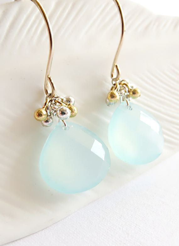 Chalcedony briolette earrings, mixed metal earrings, blue stone earrings, aqua stone earrings, blue dangle earrings - Wailana Plump