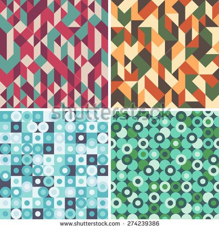 Set of colorful seamless patterns with circles and triangles. #geometricpattern #vectorpattern #patterndesign #seamlesspattern
