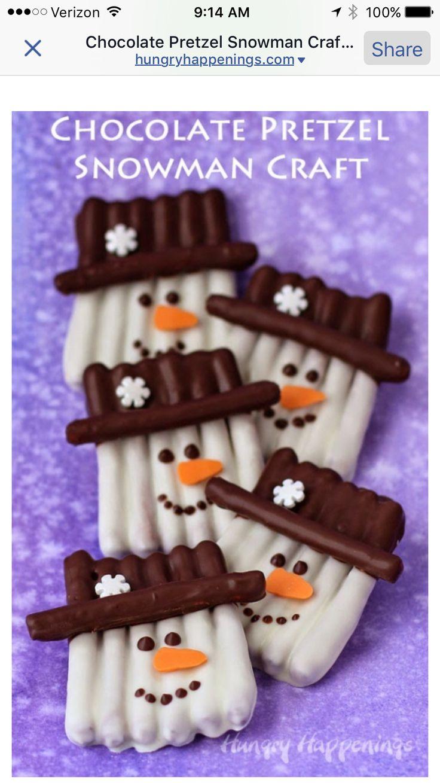 Snowmen pretzels