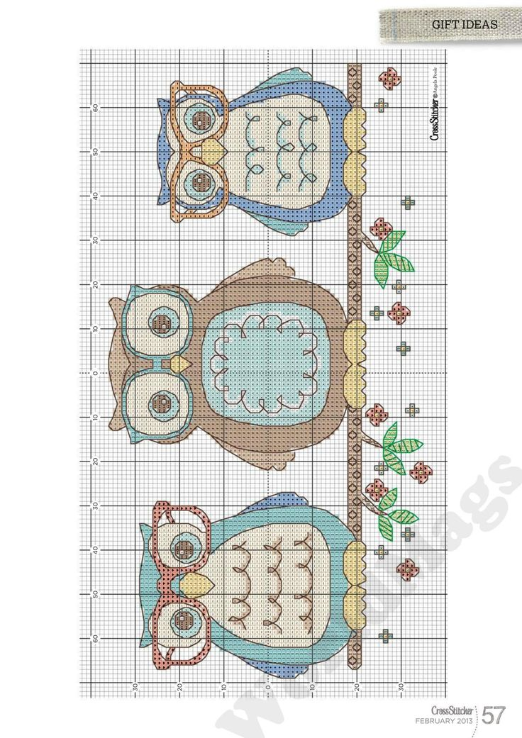 Cross-stitch Owls Bookmark... no color chart available, just use the pattern chart as your color guide.. or choose your own colors... Owls #cross stitch CrossStitcher_2013-02_57.jpg