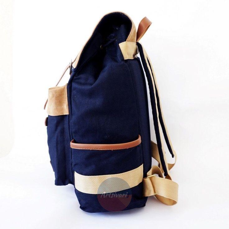 "Stylish Vintage Canvas Backpack 14"" Laptop Satchel Travel Hiking School Book Bag | eBay"