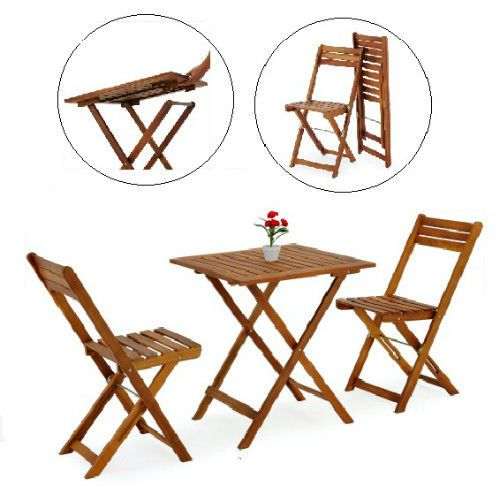 Acacia Wood Table And Chairs 3pc Outdoor Bistro Furniture Set Balcony Terrace  #SmartDealsMarket