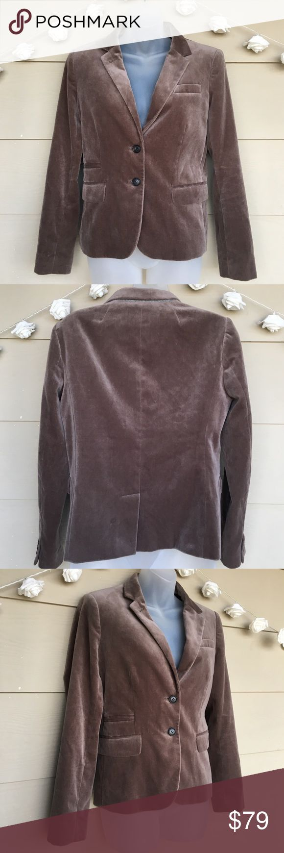 J. Crew • Schoolboy Taupe Velvet Blazer Jacket J. Crew • Schoolboy Taupe Velvet Blazer     —Size = 6 —In Excellent Pre-Owned Condition —This blazer is amazing! Great neutral cut and designed to fit the body just right. Very comfy. Velvet like finish. Black faint polka dot inside lining. Great business / career blazer.   ?? Questions ?? — Please ask! :)  •Offers & counteroffers always welcome.  •All packages shipped fast with love & care. •Happy Poshing!! J. Crew Jackets & Coats Blazers