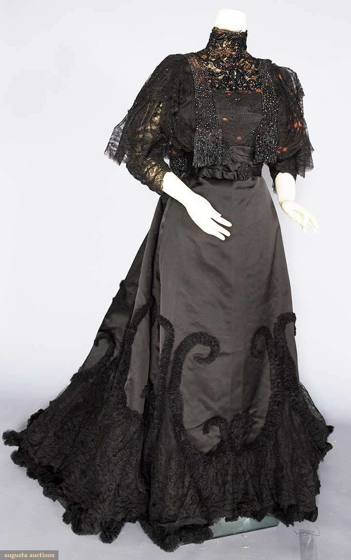 Evening Dress (image 1) | House of Worth | France; Paris | 1890s | silk, beads | Augusta Auctions | November 16, 2016