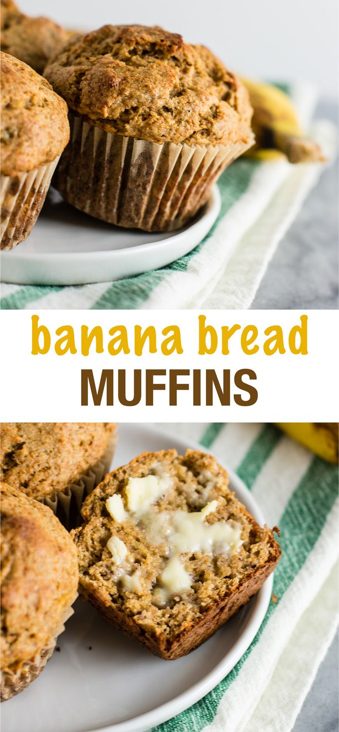 Whole wheat banana bread muffins - no oil and made with all healthy ingredients. A great way to use up bananas for a healthy snack or breakfast! #bananabread #bananabreadmuffins #wholewheat #breakfast #wholewheatmuffins #healthymuffins #healthybananabread