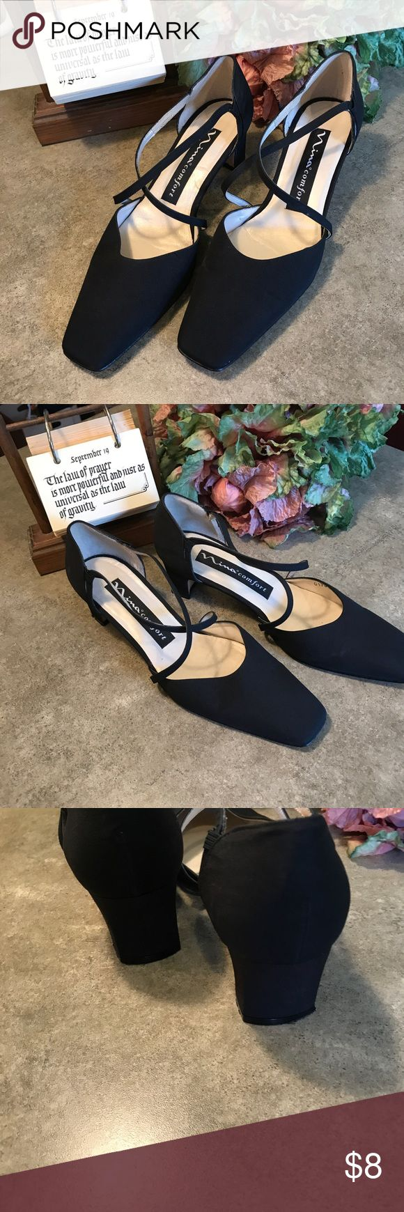 "Nina comfort Size 71/2 M upper fabric 3"" heels very good condition. They had a sole protector on the sole that's why they look so black but the sole are very good. Used no flaws elsewhere. Shoes"