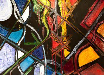 Яркая и эмоциональная картина... «Экспрессия» 70х50 см, смешанная техника, картон  Психическое состояние, соответствующее этой картине – истерика. Столкновение двух миров, которое приводит к  кровопролитию...