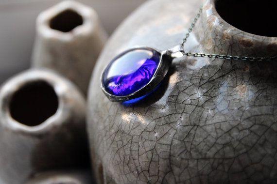 Big large transparent blue sky clear ball sphere beadwork statement pendant necklace
