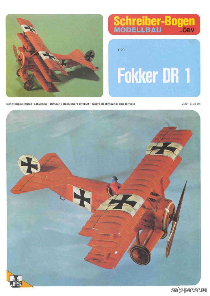 1:20, Fokker DR1 (Schreiber-Bogen 72022), 1:20 (!) paper model, maybe good for RC 1:16 conversion.