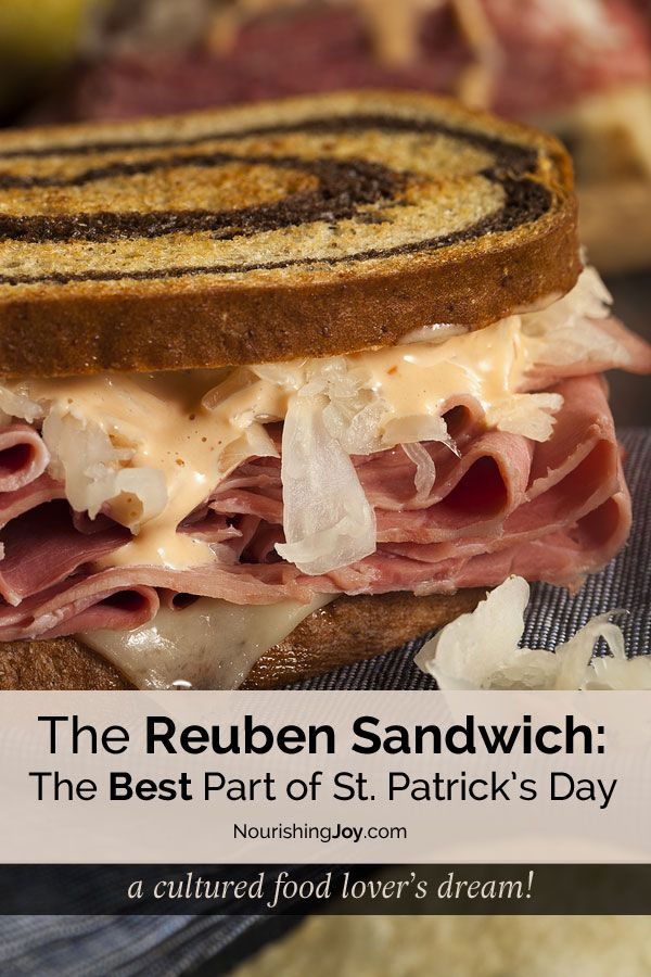 Ah, the Reuben. Corned beef, sauerkraut, and cheese grilled on sourdough rye bread. Every ingredient is cultured or fermented and teeming with good-for-you bacteria. No wonder this sandwich feels good for the soul as well as the body.
