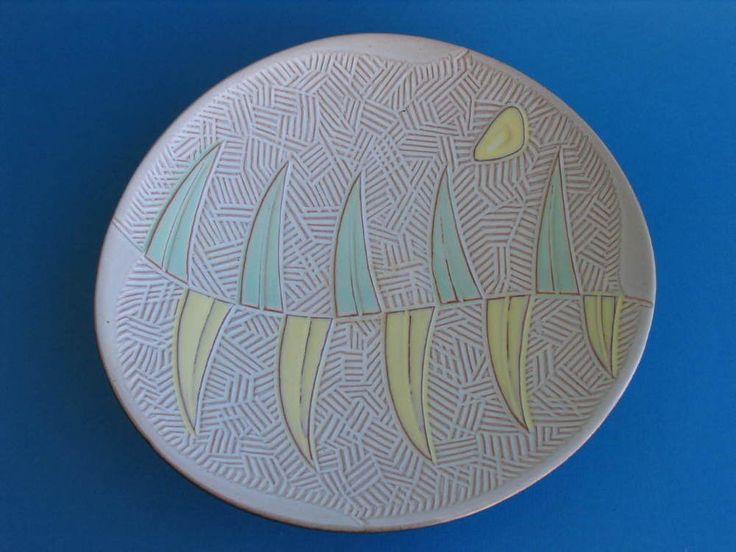 Keramikschale Obstschale 50er Jahre Keramik mit pastellfarbenem Dekor