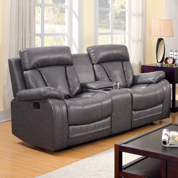 furniture of america hurshel grey faux leather reclining loveseat with console new furnishings. Black Bedroom Furniture Sets. Home Design Ideas