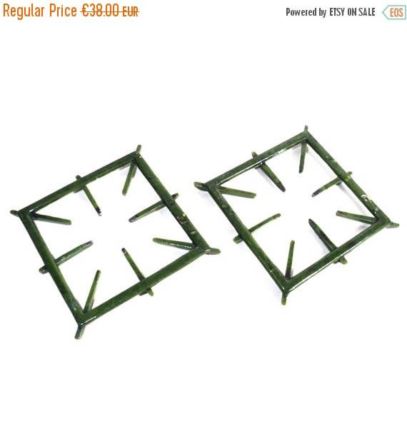 ON SALE 2 Cast Iron Trivets, Green Enameled Grill, French Square Pan Support, Bleu Petrole, Mirus, Pinchard, Gas Cooker Stove Grid, Drip Pan