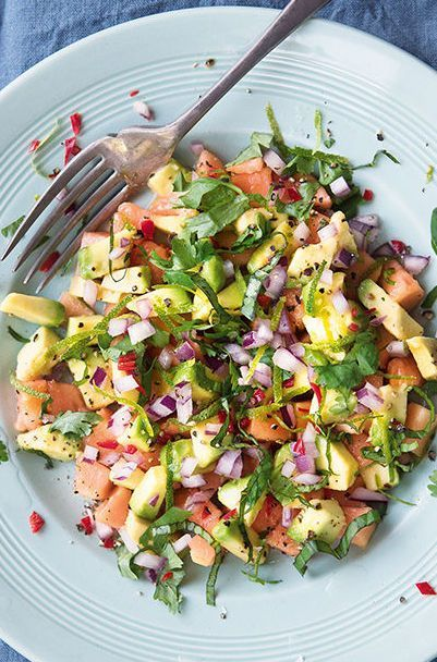 A flavorful and zesty Avocado Papaya Salad      personally, I'd like this as a side or lunch with some tuna steak or chicken.