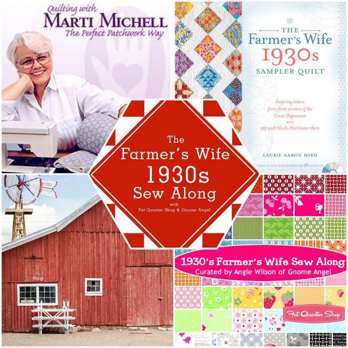 """The Farmer's Wife 1930's Sew-along: Learn to sew the 99 Blocks from Laurie Aaron Hird's book The Farmer's Wife 1930's Sampler Quilt"""" with Angie Wilson of GnomeAngel.com, Fat Quarter Shop and From Marti Michell Perfect Patchwork Templates. Find out more here: http://gnomeangel.com/farmers-wife-1930s-sampler-quilt-sew-along/"""