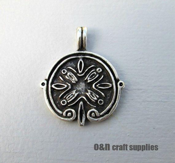 Engraved metal pendant ancient greek pendant 2 by OandN on Etsy, $2.40