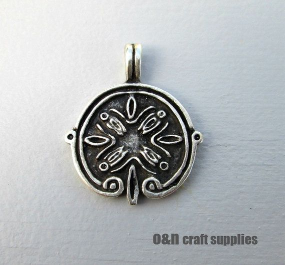 Engraved metal pendant ancient greek pendant 2 by OandN on Etsy, $2.40