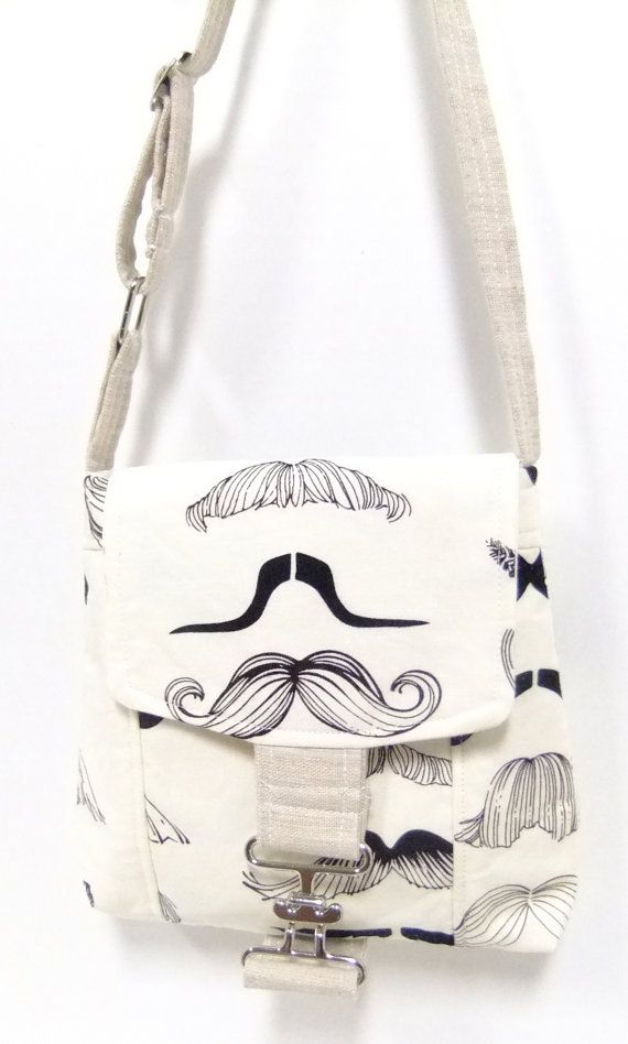 Small Messenger Bag - mustache - cute trendy print - crossover purse