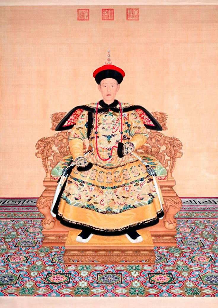 Giuseppe Castiglione.  Italian.   1688. -- 1766. Worked in China.  1714. -- 1766.   Portrait of Qianlong Emperor in ceremoniële court robe. Qing dynasty.  Qianlong periode. 1736.   The Palace Museum.    Beijing, China. (Gu 6464)