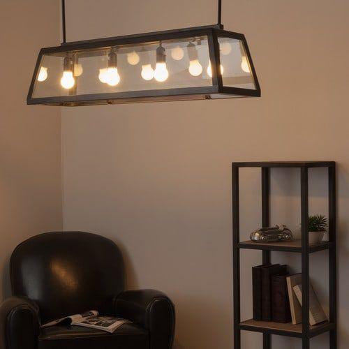 Lampadario nero in metallo e vetro L 102 cm USINE
