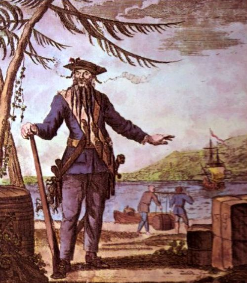 Blackbeard His real name was Edward Teach, better known as Blackbeard – the notorious English pirate who terrorized the waters of the West Indies and the eastern coast of the American colonies from 1717 to 1718.