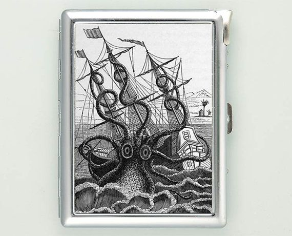 Octopus Attacking Ship Cigarette Case with Lighter Wallet Business Card Holder ***********************************  We sell only case & lighter. We