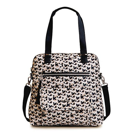 Camryn Printed Laptop Handbag,Optic Beige Multi,large