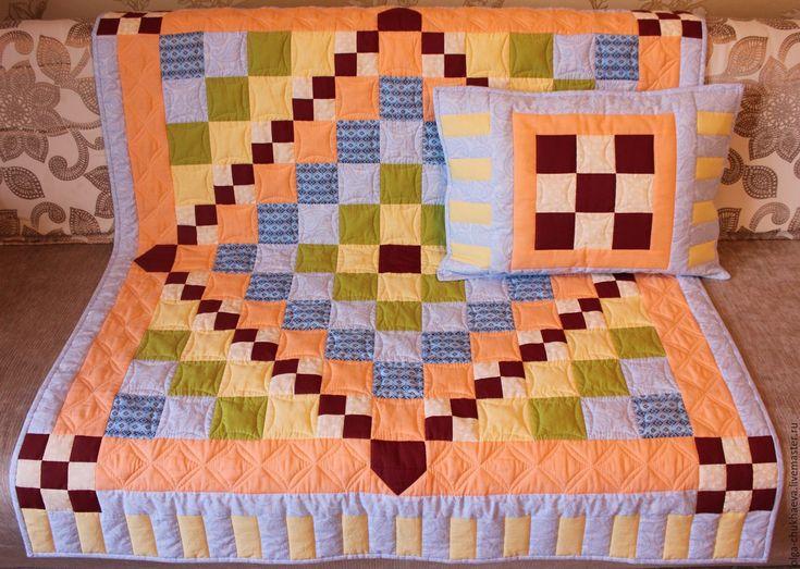 """Купить Детский лоскутный комплект """"Шахматный"""" - детское лоскутное одеяло, лоскутное шитье, Квилтинг и пэчворк"""