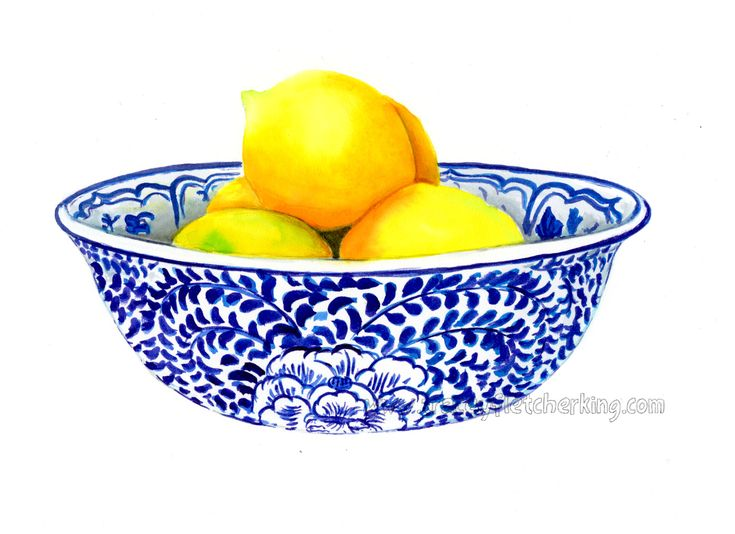 Lemon Bowl by Tracey Fletcher king is now available as a print in three sizes. I love chinoiserie and blue and white china so painting this was pure heaven.