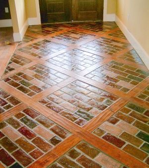 combination wood and brick inlay floors | Runningbond in the color Windsor inlaid with Pre-Finished Scraped Pine