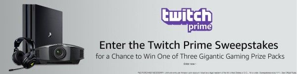 Amazon - Twitch Prime Sweepstakes  Sweepstakes Prize  Enter to Win  Win either a trip to TwitchCon or 2017 PAX West including Airfare and Hotel for two. The prize package also includes:  One (1) Sony Powerful Mini Sound Bar with Wireless Subwoofer Black (2017 model)  One (1) Sony 49-inch 4K Ultra HD Smart LED TV (2017 model)  One (1) Sony 1080p 3D SXRD Home Theater Gaming Projector (2016 model)  One (1) Naga Chroma - Chroma MMO Mouse  One (1) Razer ManO'War - 7.1 Wireless Headset  One (1)…