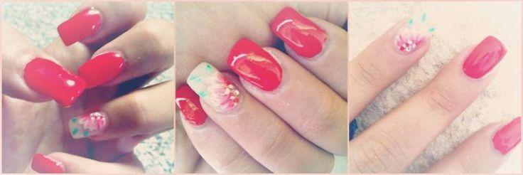 nails art red corad