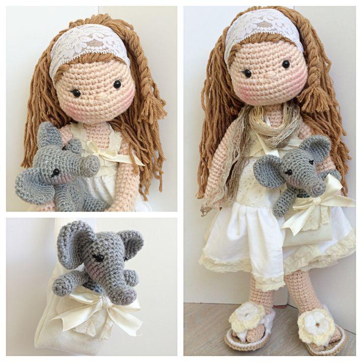 Boho amigurumi doll and crochet elephant
