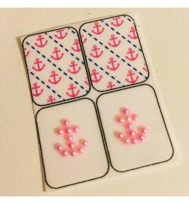 Películas ou Adesivos de Unhas Modelo Pérolas Rosa (Ancora) - Adesivos para Unhas, Películas para Unhas e Esmaltes - Doce Película