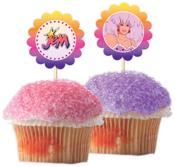 JEM and the Holograms Cupcake Topper PDF file by freaknsweet, $3.50