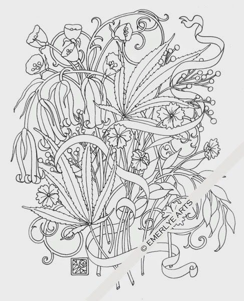 i am trying to finish the designs for a new collection of coloring pages with a hemp cannabis theme