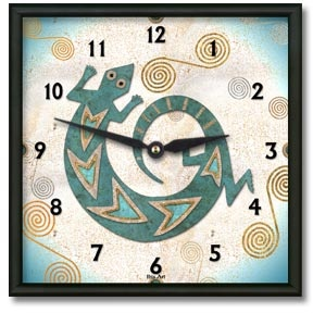 Turquoise Lizard Square Metal Wall Clock - From our Southwestern Clocks category, this clock has a traditional Native American gecko symbol.  $50.00