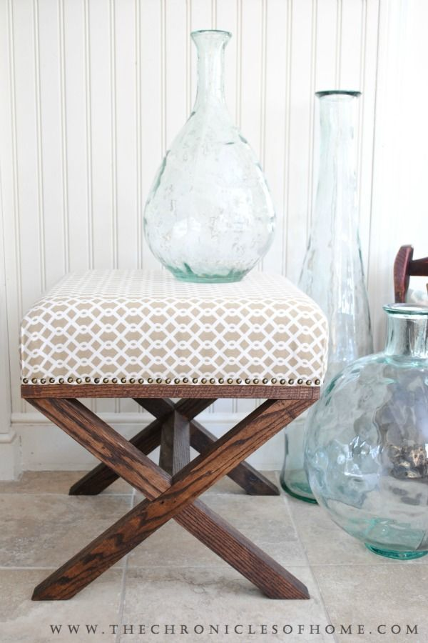 Easy-to-follow tutorial for building and upholstering a DIY X Bench for around $50!