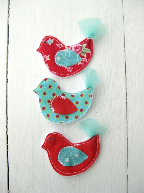 fabric bird embellishment set found at Violet on Etsy.