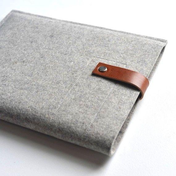 iPad case on Etsy, cute! $48.00 http://www.etsy.com/listing/66892265/ipad-sleeve-grey-wool-felt-with-brown?ref=fp_treasury_8