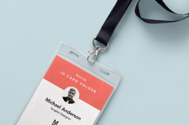 is a new realistic psd id card holder mockup to showcase your event id