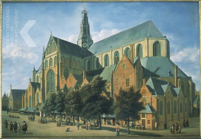 Gerrit Adriaensz. Berckheyde, Gezicht op de St. Bavo in Haarlem, 1666, eikenhouten paneel, olieverf, 61,5 x 85cm. Veiling: Drouot Richelieu, Parijs.