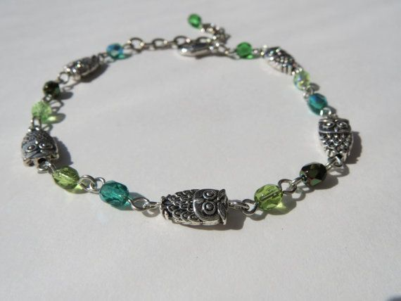 Owl Charm Bracelet  Silver Pewter Beads  Olive Emerald by Thielen, $19.95