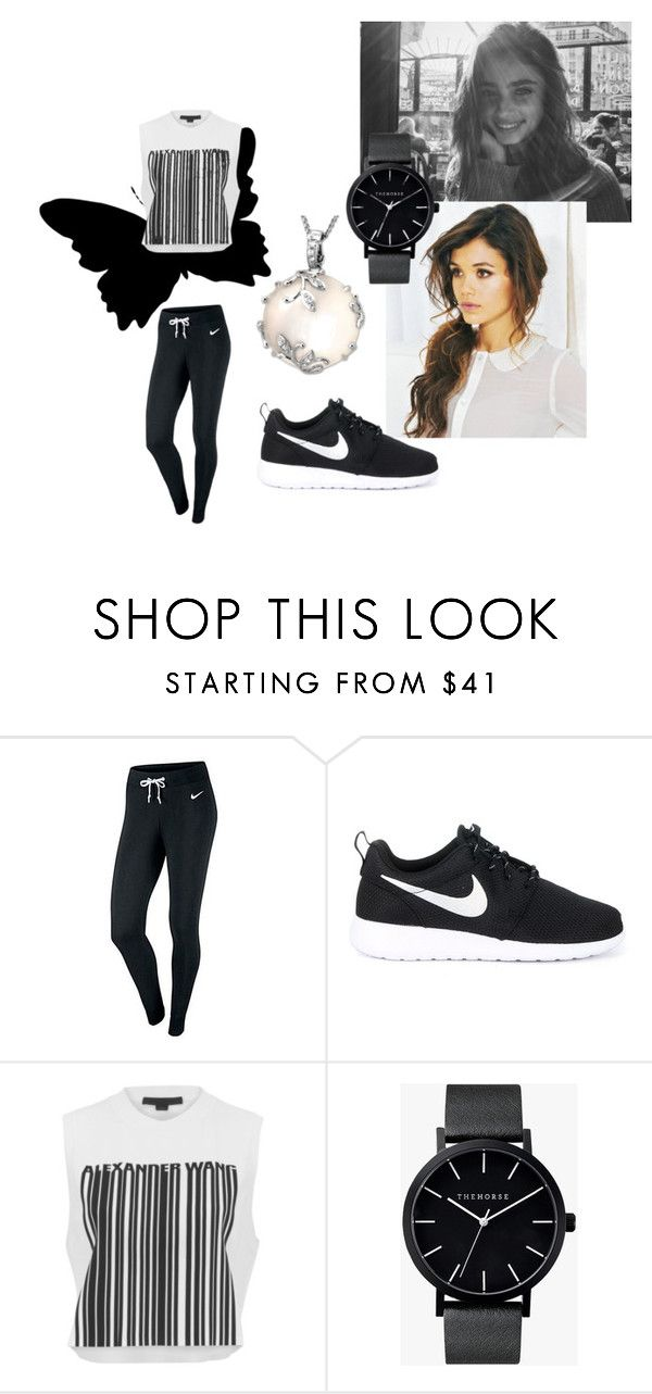 """Vanessa Young #6"" by sophie-l-marshall ❤ liked on Polyvore featuring NIKE, Alexander Wang, The Horse and Mother of Pearl"