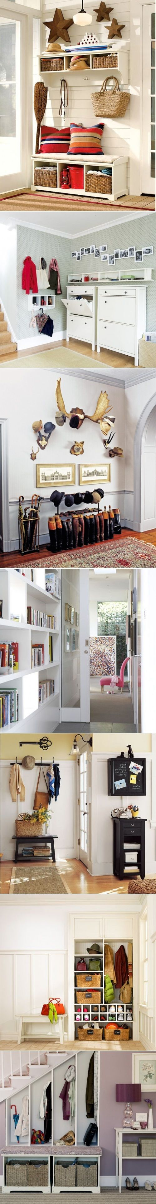 DIY Mudroom And Hallway Storage Ideas NOTE: Carrie that top Ikea shoe one would work good on your living room wall by other door(against bedroom closet wall) because it is very thin but it would hold a lot of shoes or movies or whatever :)
