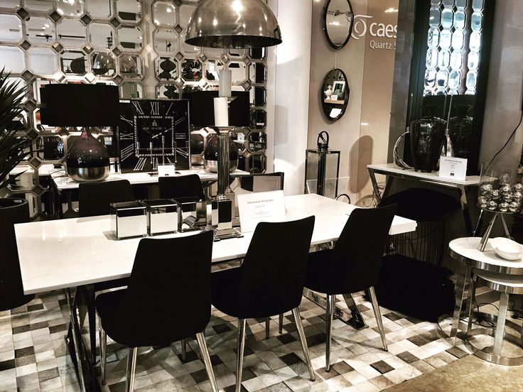 Shiny, sparkly, stylish. The Lyn Caesarstone Dining Set is a silver and white spectacle!