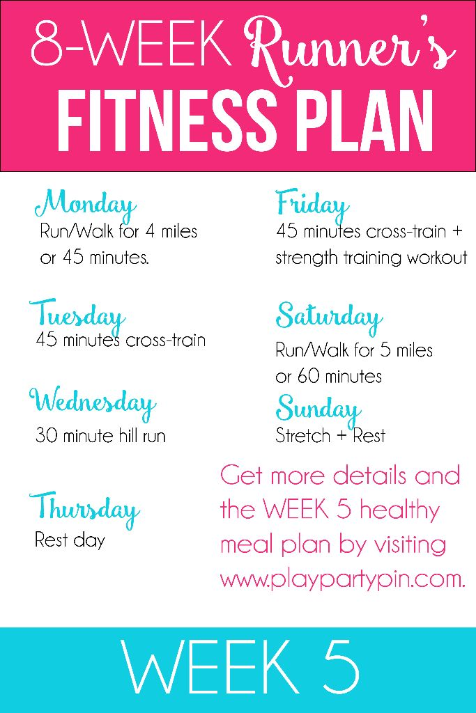 8-week program for runners to get a fitness jumpstart - 8 weeks of running workouts, healthy meal plans, and great running tips!
