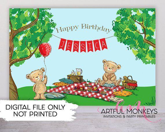 Personalized Teddy Bears Picnic Balloon Birthday Banner