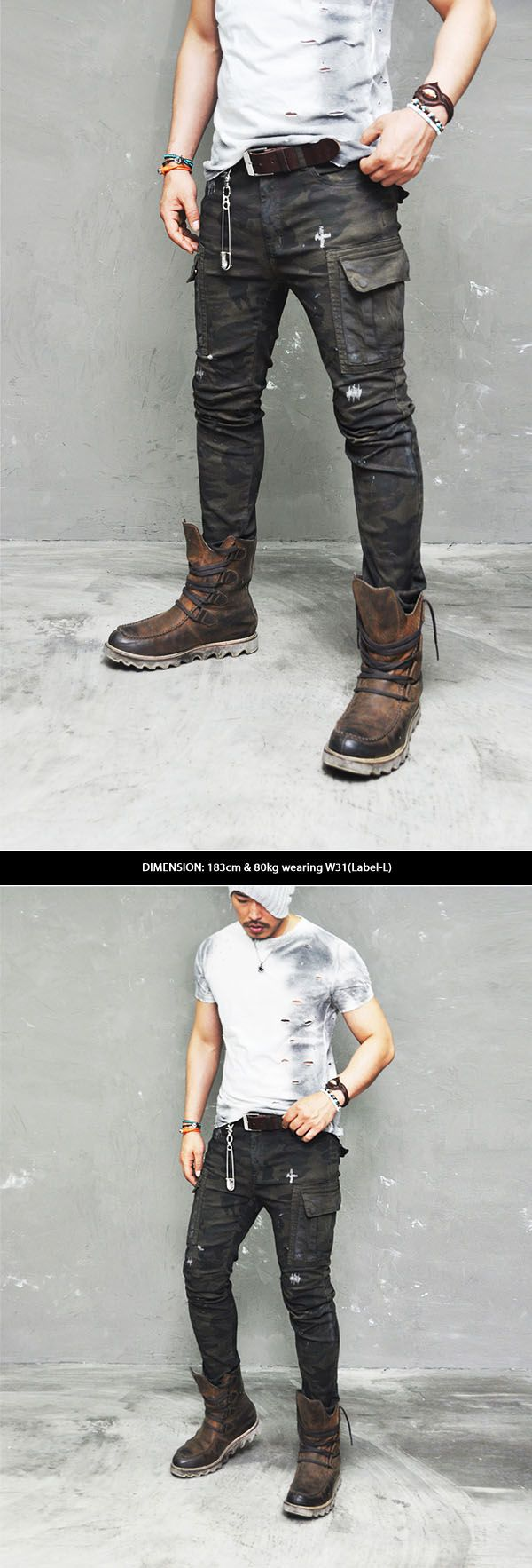 Bottoms :: Real Vintage Oil Wash Rugged Camo Cargo-Pants 130 - Mens Fashion Clothing For An Attractive Guy Look
